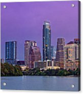 Panorama Of Downtown Austin Skyline From The Lady Bird Lake Boardwalk Trail - Texas Hill Country Acrylic Print