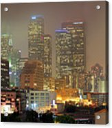 Panorama Of Downtown Los Angeles In The Fog Acrylic Print