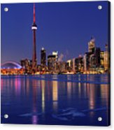 Panorama Of Frozen Ice Covered Lake Ontario Reflecting The Light Acrylic Print