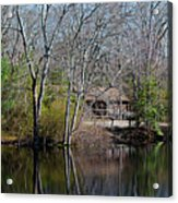 Panorama Of Lake, Trees And Cabin Acrylic Print