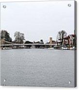 Panorama Of Marlow Bridge In Winter Acrylic Print