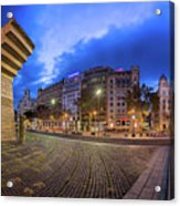 Panorama Of Placa De Catalunya In The Morning, Barcelona, Spain Acrylic Print