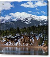 Panorama Of South Catamount Reservoir With Pike's Peak Covered I Acrylic Print