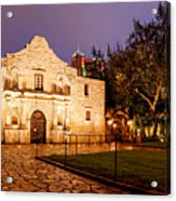 Panorama Of The Alamo In San Antonio At Dawn - San Antonio Texas Acrylic Print