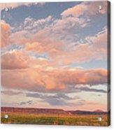 Panorama Of Twilight Clouds Over Tetilla Peak Recreation Area - Cochiti Lake New Mexico Acrylic Print