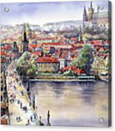 Panorama With Vltava River Charles Bridge And Prague Castle St Vit Acrylic Print