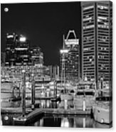 Panoramic Baltimore In Black And White Acrylic Print