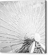 Panoramic Chicago Ferris Wheel In Black And White Acrylic Print