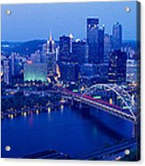 Panoramic Evening View Of Pittsburgh Acrylic Print