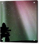 Panoramic Inukshuk Northern Lights Acrylic Print