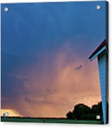 Panoramic Lightning Storm And Church Acrylic Print