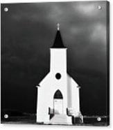 Panoramic Lightning Storm And Prairie Church 2 Acrylic Print