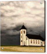Panoramic Lightning Storm And Prairie Church Acrylic Print
