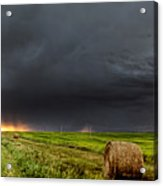 Panoramic Lightning Storm In The Prairies Acrylic Print
