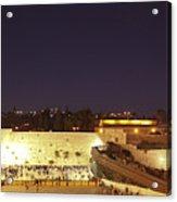 Panoramic Night View Of The Wailing Wall  Acrylic Print