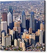 Panoramic Philly Skyline Aerial Photograph Acrylic Print by Duncan Pearson