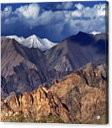 Panoramic Rocky Landscape Of Leh City Ladakh Jammu And Kashmir India Acrylic Print