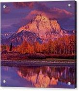 Panoramic Sunrise Oxbow Bend Grand Tetons National Park Acrylic Print