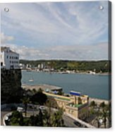 panoramic town 1  - Panorama of Mahon Menorca with old town and harbour Acrylic Print