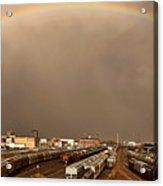 Panoramic Train Yard Storm Acrylic Print