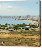 Panoramic View At The Salinas Beaches In Ecuador Acrylic Print