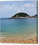 Panoramic View Of Beautiful Beach, San Sebastian, Spain  Acrylic Print