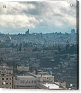 Panoramic View Of Old Jerusalem City Acrylic Print