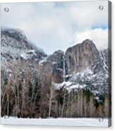 Panoramic View Of Snowed Peaks In Yosemite Park With Snow On The Acrylic Print