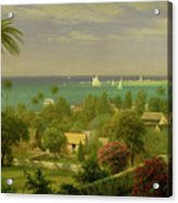 Panoramic View Of The Harbour At Nassau In The Bahamas Acrylic Print by Albert Bierstadt