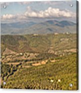 Panoramic View Of Umbrian Hills In Italy Taken From Preggio Acrylic Print