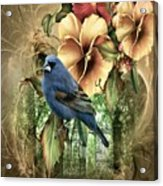 Pansies And Bluebird Acrylic Print