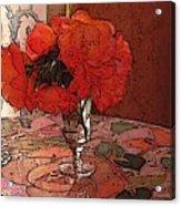 Pansies And Mosian Table Acrylic Print