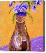 Pansies In Brown Vase Acrylic Print by Jamie Frier