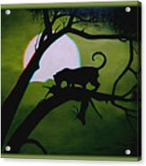 Panther Silhouette - Use Red-cyan 3d Glasses Acrylic Print