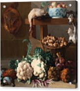 Pantry With Artichokes Cauliflowers And A Basket Of Mushrooms Acrylic Print