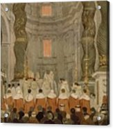 Papal Ceremony In St Peter In Rome Under The Canopy Of Bernini Acrylic Print