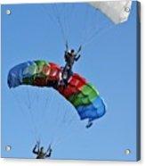 Parachutists Biplane Acrylic Print