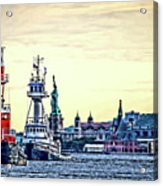 Parade Of Tugs, Hudson River, New York City Acrylic Print