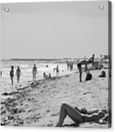 Paradise Beach In Black And White Acrylic Print