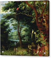 Paradise Scene With Adam And Eve Acrylic Print