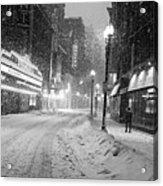 Paramount Snowstorm Boston Ma Washington Street Black And White Acrylic Print