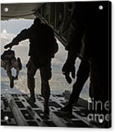 Paratroopers Jump Out Of A Kc-130j Acrylic Print