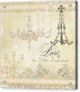 Parchment Paris - City Of Light Chandelier Candelabra Chalk Acrylic Print