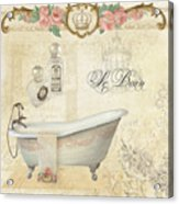 Parchment Paris - Le Bain Or The Bath Chandelier And Tub With Roses Acrylic Print