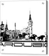 Pardubice Skyline City Black Acrylic Print