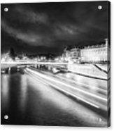 Paris At Night 19 Bw Art  Acrylic Print