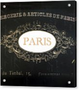 Paris Black And White Gold Typography Home Decor - French Script Paris Wall Art Home Decor Acrylic Print