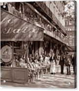 Paris Cafe 1935 Sepia Acrylic Print