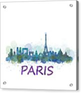 Paris City Skyline Hq Watercolor V3 Acrylic Print