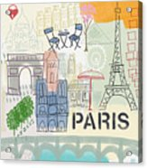 Paris Cityscape- Art By Linda Woods Acrylic Print by Linda Woods
